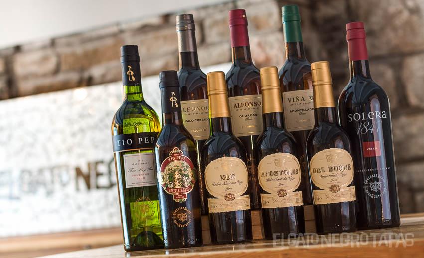 A range of Gonzalez Byass sherries in El Gato Negro