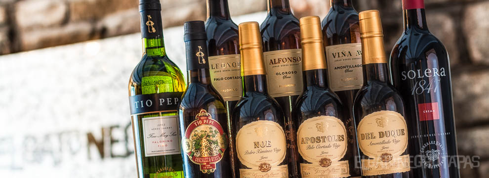 A selection of Gonzalez Byass sherries at El Gato Negro