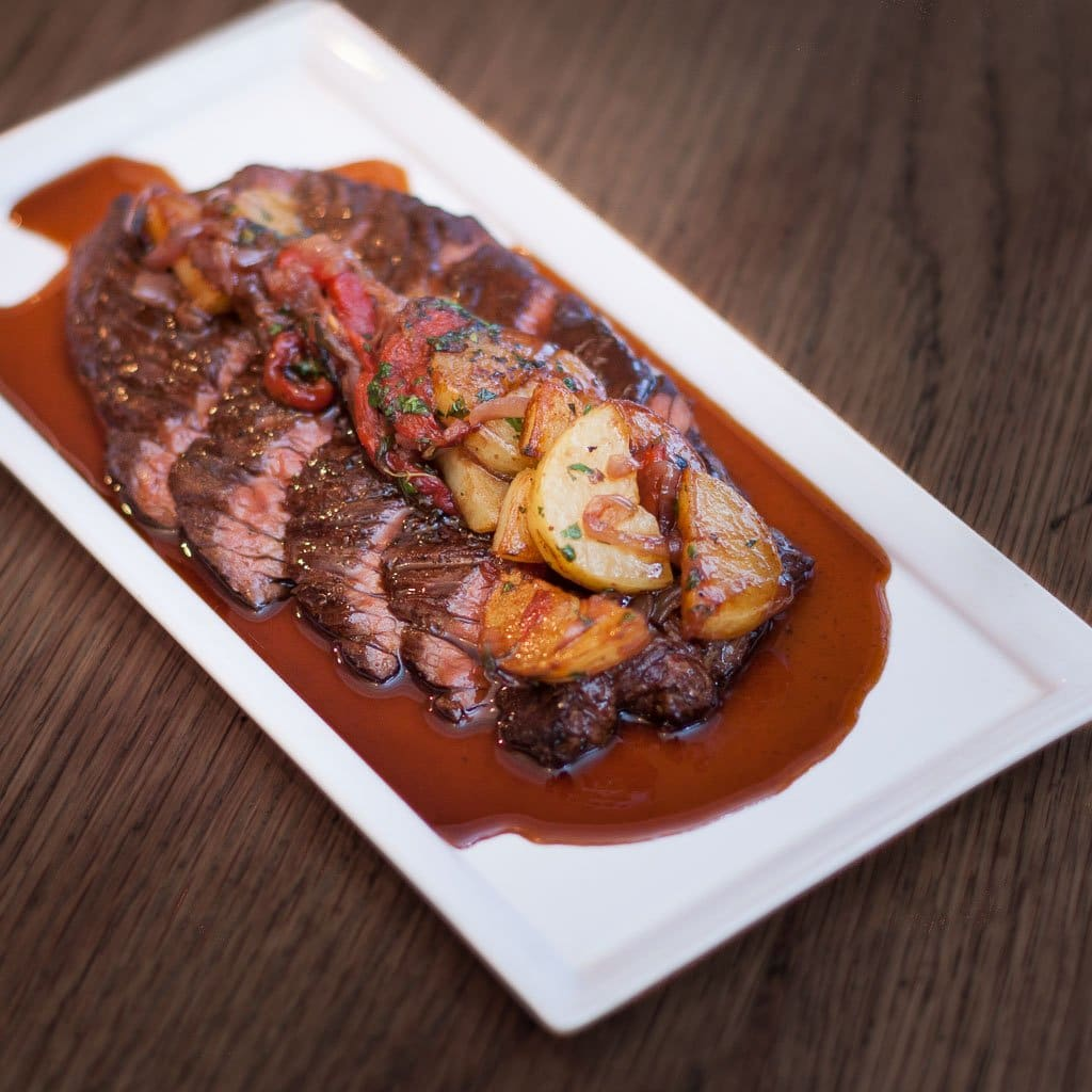 Chargrilled Onglet Steak with Patatas A Lo Pobre