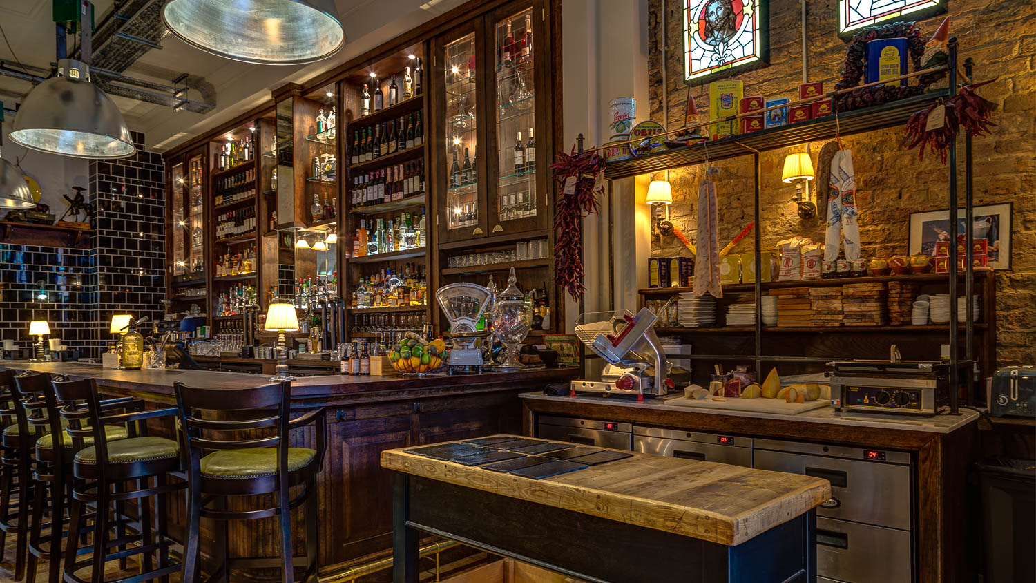 Bar and charcuterie station at award-winning restaurant El Gato Negro