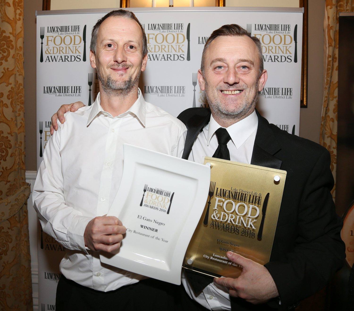 City Restaurant of the Year winner was El Gato Negro, Manchester. Photographed here are Richard Jones and Simon Shaw