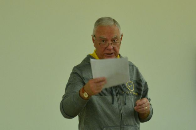 Brian King reading his last report after 13 years as the clubs treasurer at the AGM.