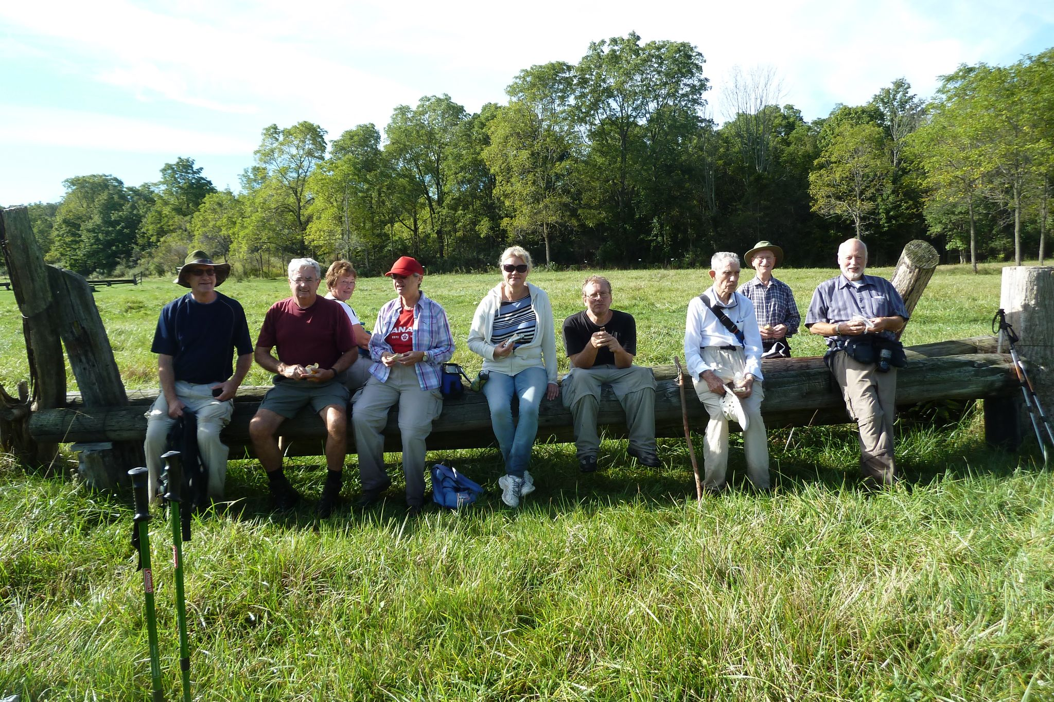 The group resting at horse farm on day 3 of our fortieth end-to-end.