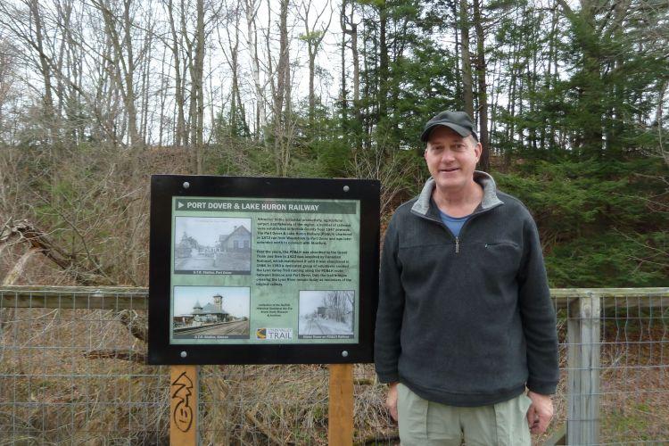 Dave enjoying a bridge on the Lynn Valley Trail in a mild December day.