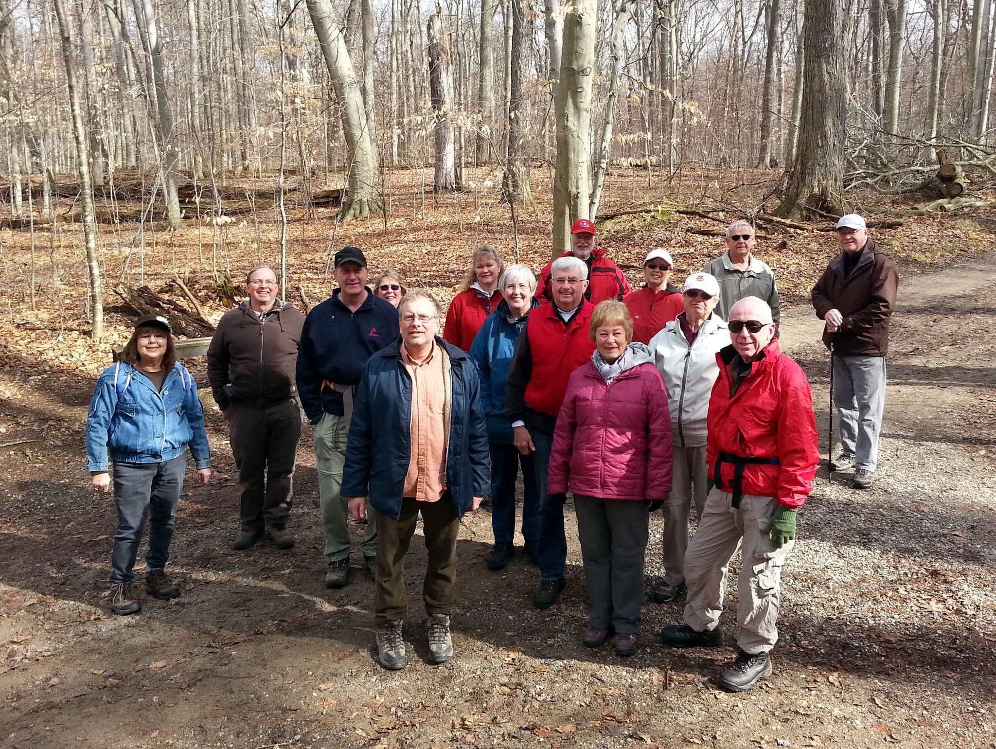 Sixteen of us enjoying mild winter day heading to pancake breakfast in Springwater, most in group got to see a pileated woodpecker on hike -- photo by Tom d'Entremont