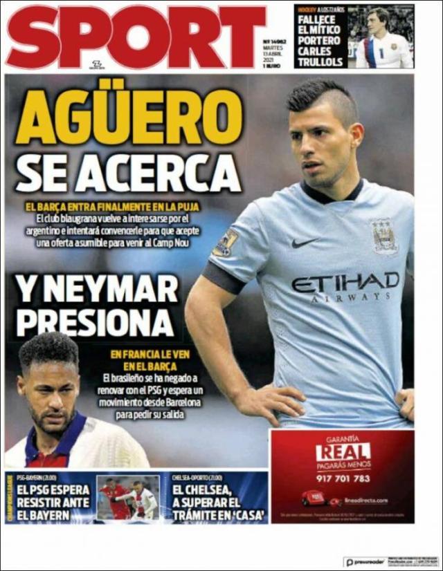 Tapa del Diario Sport de Barcelona. ¿Jugarán juntos Messi y Agüero?