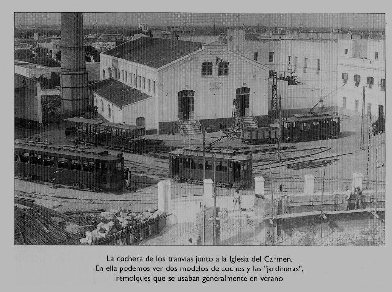 """La fábrica del tranvía en la Isla. Fotografía Quijano ilustrada en """"Evocación de un siglo""""."""