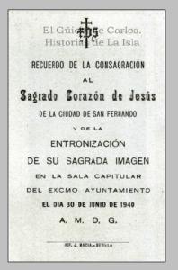 Consagración Sagrado Corazón de Jesús. Ayuntamiento de San Fernando