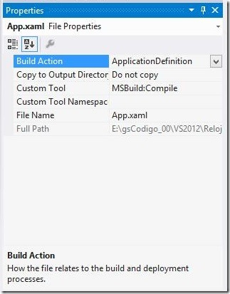 Build Action 01 - App.xaml ApplicationDefinition