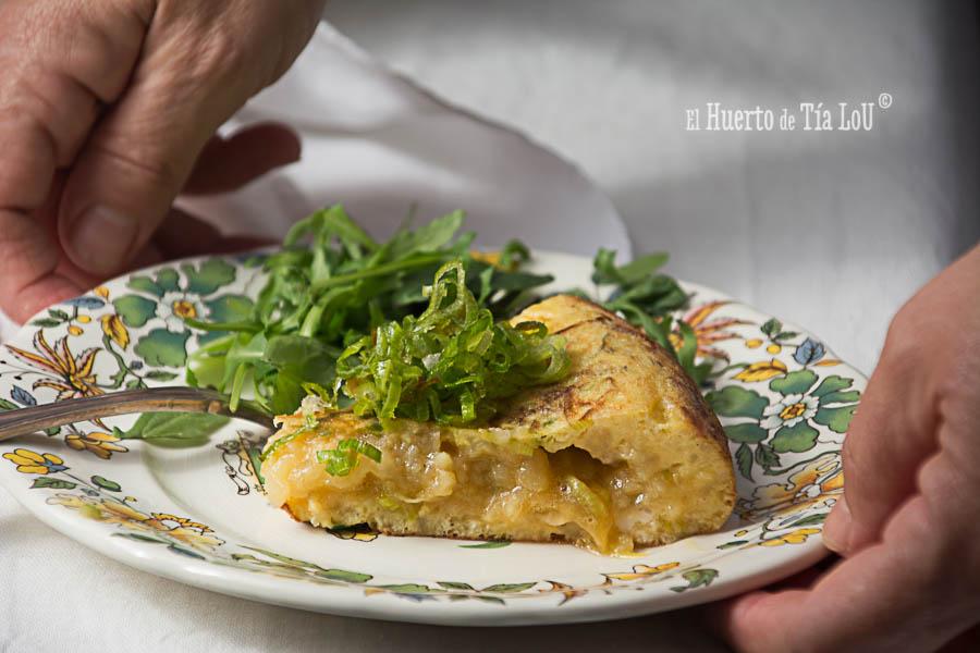 Tortilla de patatas y puerro
