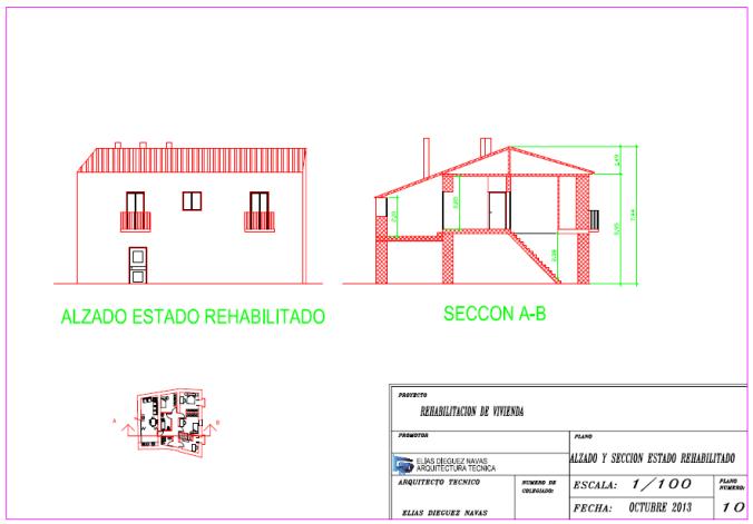Rehabilitación de vivienda. Alzados y secciones estado rehabilitado