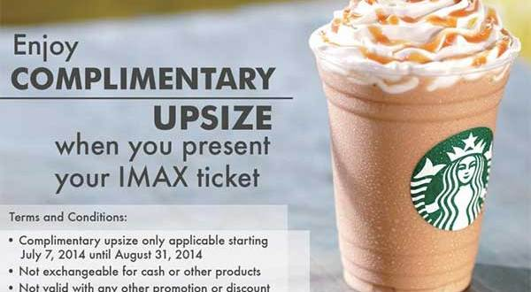 iMax and Starbucks offer complimentary upsize