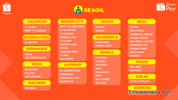 SEAOIL branches that accepts ShopeePay
