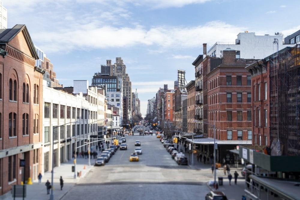 Overhead view of 14th Street scene from the Highline Park in the Chelsea neighborhood of Manhattan, New York City