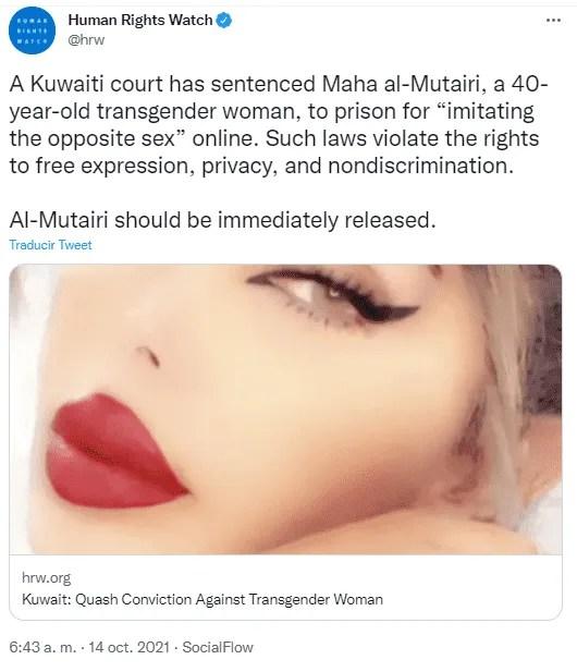 """Kuwait: Por """"imitar al sexo contrario"""" mujer transgénero es sentenciada a dos años de prisión"""