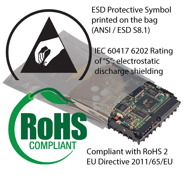 Elimstat Shielding Bags are Compliant with RoHS 2, IEC, and ESD Association standards
