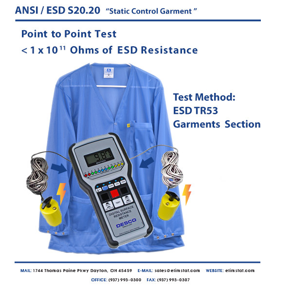 Resistance Point to Point Measurement of ESD Smock with Desco™ ESD Resistivity Meter