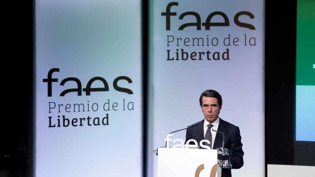 El ex presidente José María Aznar en la entrega del premio de FAES.