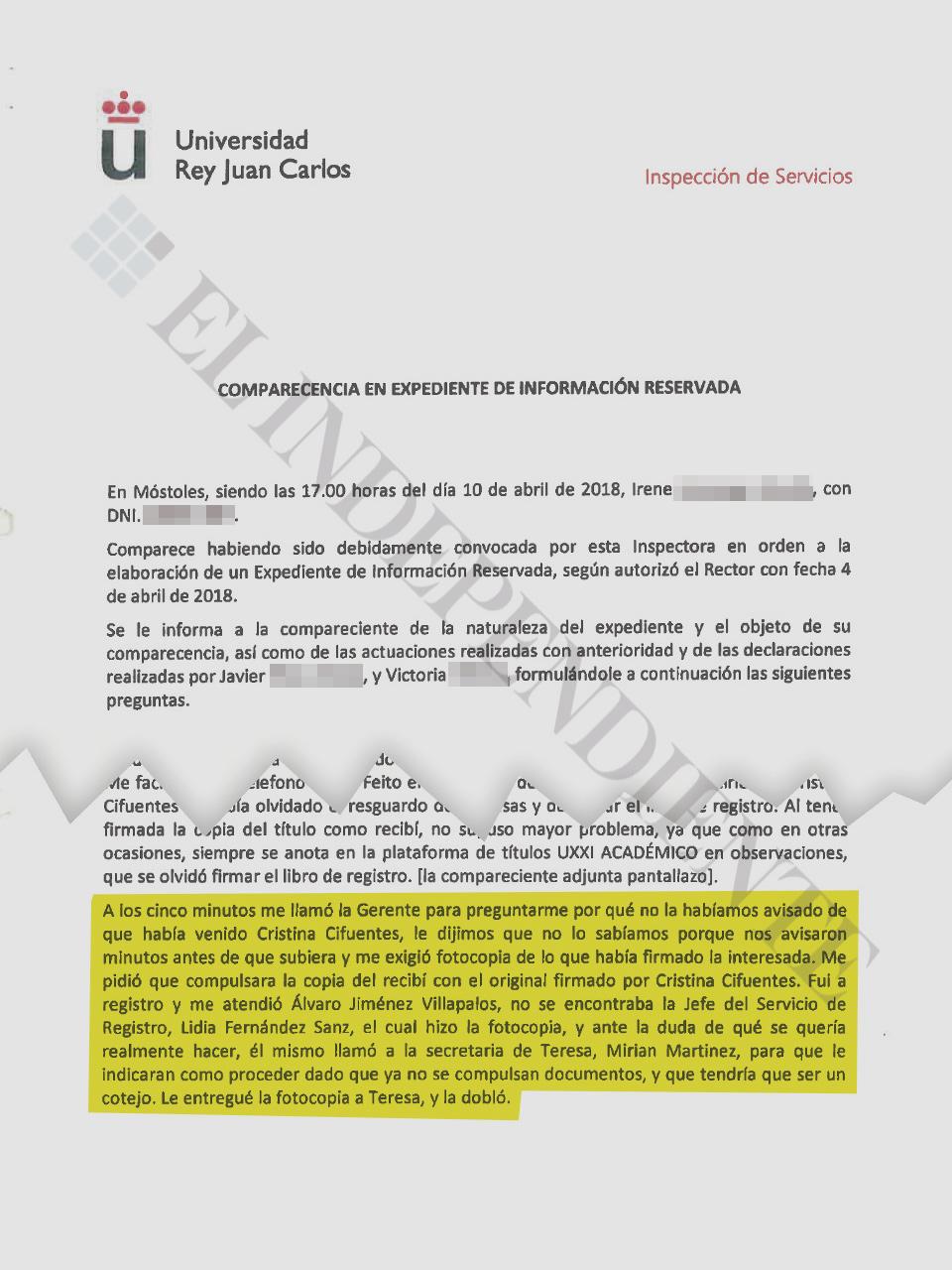 Otro de los testimonios de funcionarios de la URJC que comprometen a Sánchez Magdaleno.