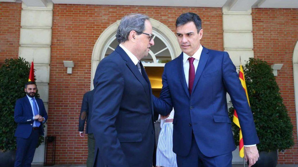 El president de la Generalitat, Quim Torra, y el presidente de Gobierno, Pedro Sánchez, en la Moncloa.