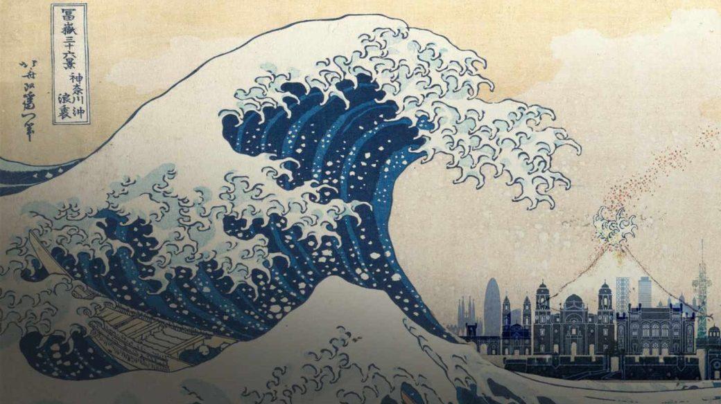 Reinterpretación del tsunami de Katsushika Hokusai