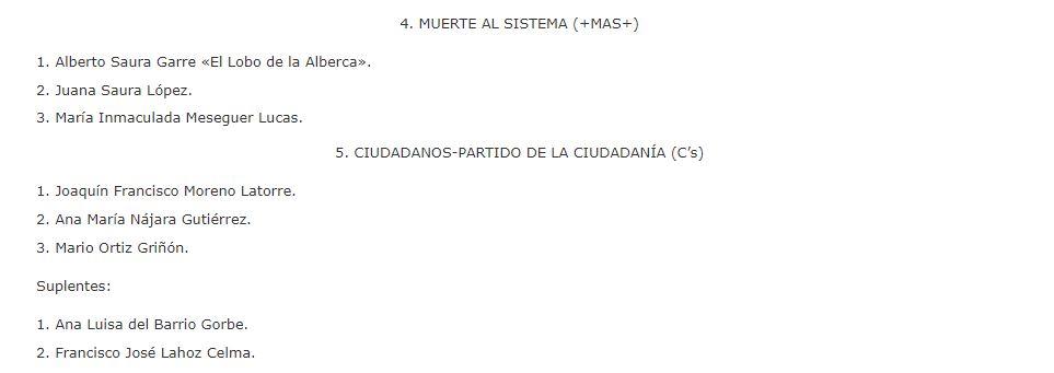 Así aparece en el BOE la candidatura de Muerte al Sistema en la provincia de Teruel.