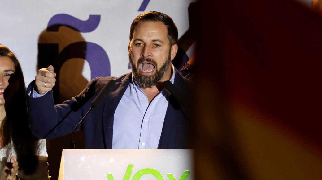 El líder de Vox, Santiago Abascal, tras los resultados electorales.