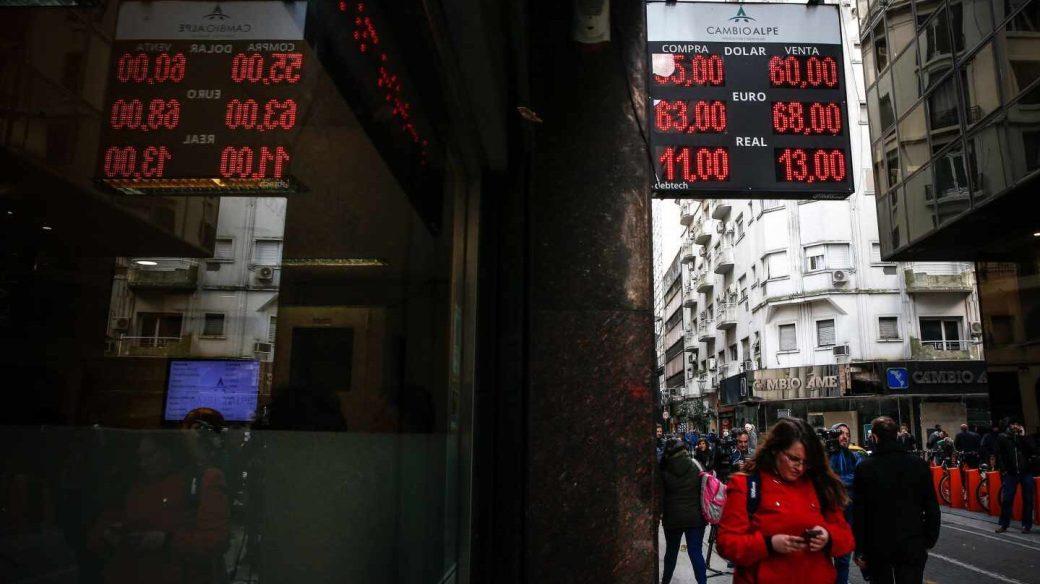 Casa de cambio de monedas en Buenos Aires.