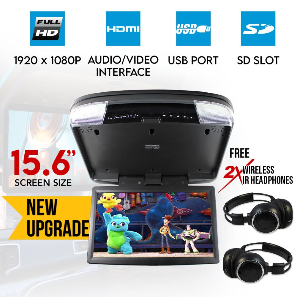 medium resolution of 15 6 dvd player roof mount in car flip down monitor hdmi suit 12v 24v vehicle