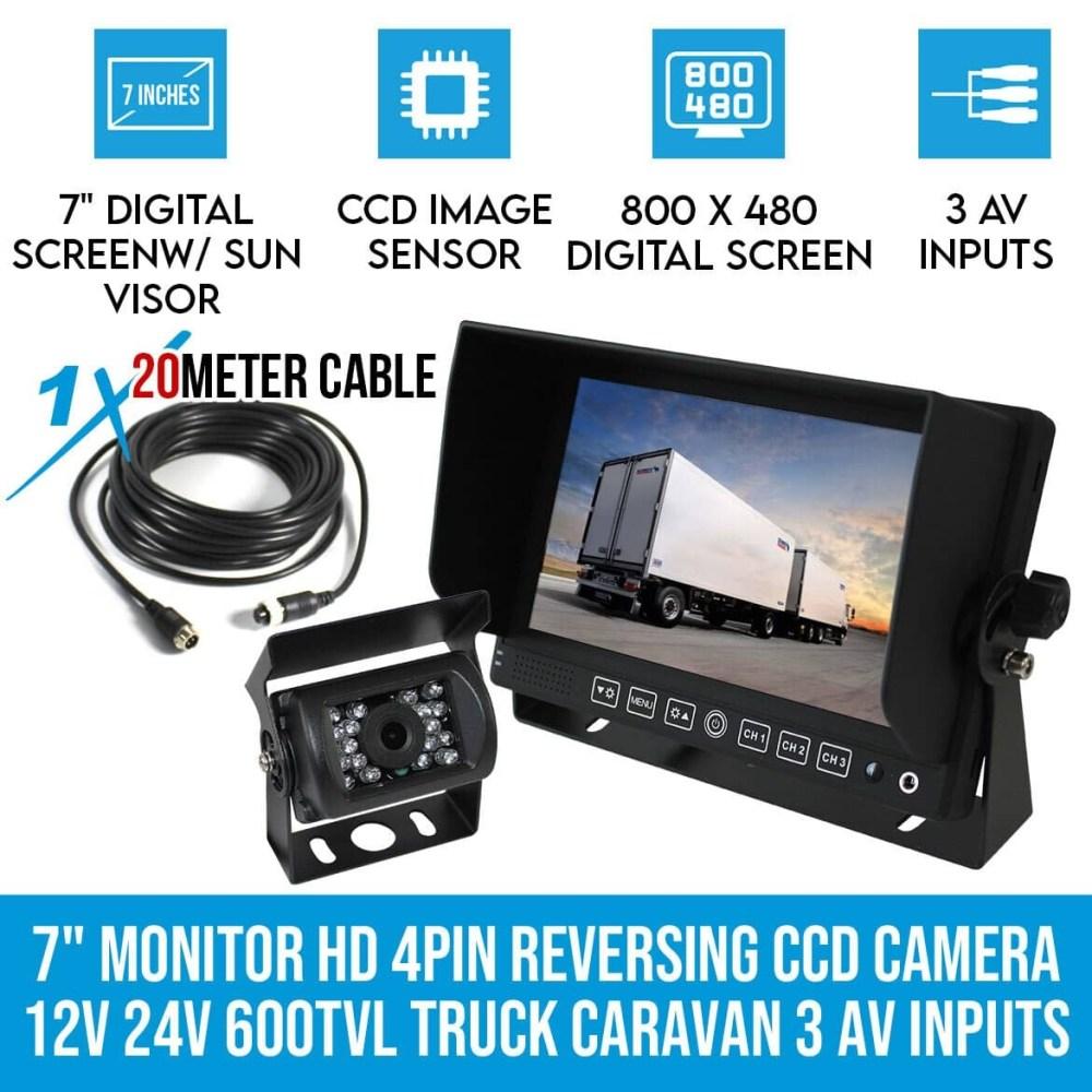 medium resolution of 7 monitor hd 4pin reversing ccd camera 12v 24v 600tvl truck caravan 3 av inputs