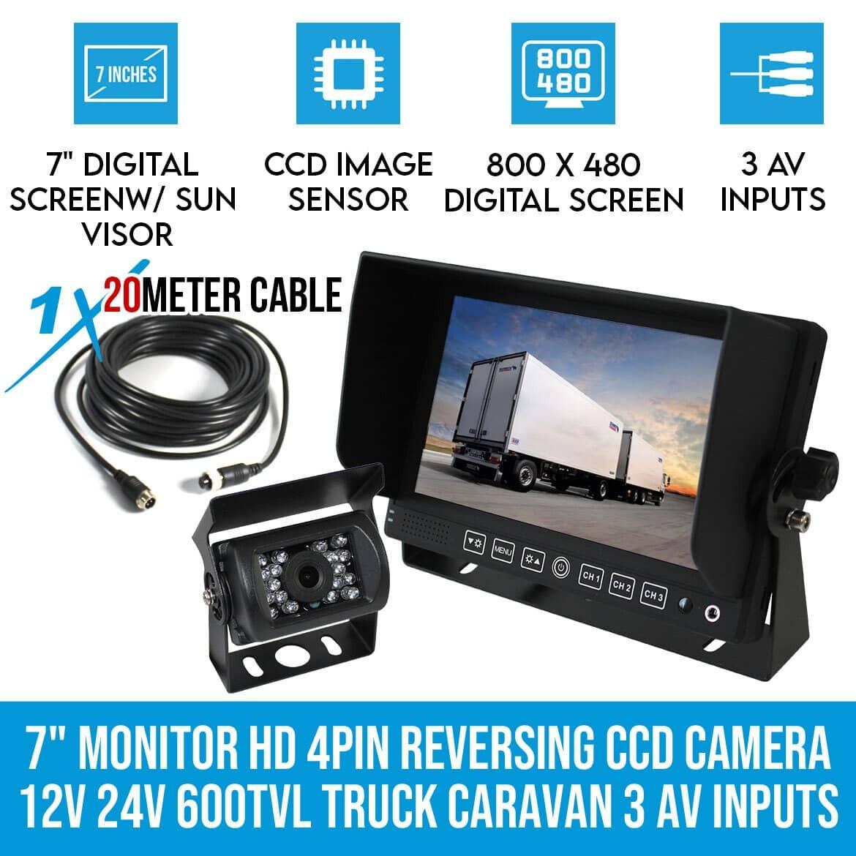 hight resolution of 7 monitor hd 4pin reversing ccd camera 12v 24v 600tvl truck caravan 3 av inputs