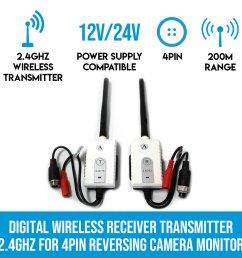 digital wireless receiver transmitter 2 4ghz for 4pin reversing camera monitor [ 900 x 900 Pixel ]