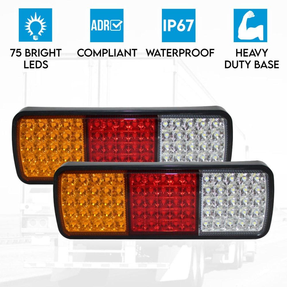 medium resolution of 2x led trailer light reverse indicator brake tail lights truck trailer lights wiring universal led trailer truck caravan tail