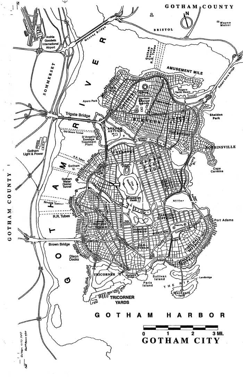 Gotham City Map. Batman, DC Comics. Comic Book Art by