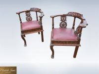 Antique pair carved oak corner chairs