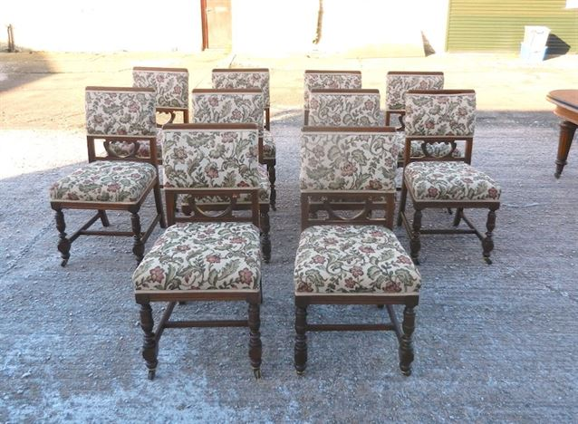 wooden chair frames for upholstery uk blue folding covers antique furniture warehouse set 10 arts crafts chairs ten late victorian walnut framed upholstered dining