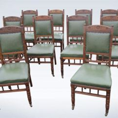 Antique Oak Dining Chairs Red Velvet Desk Chair Set 10 Ten Victorian Arts Crafts