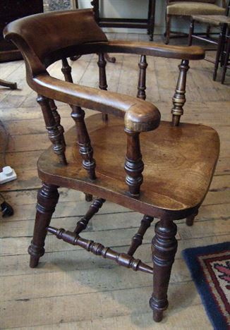 revolving chair for office stool in spanish antique furniture warehouse - captains 19th century fruitwood