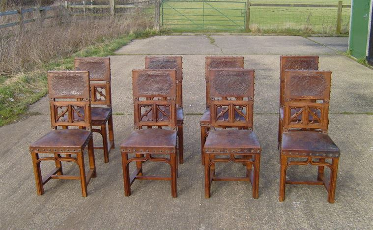 antique oak dining chairs black chair covers for weddings furniture warehouse set of eight gothic and leather jacobean style