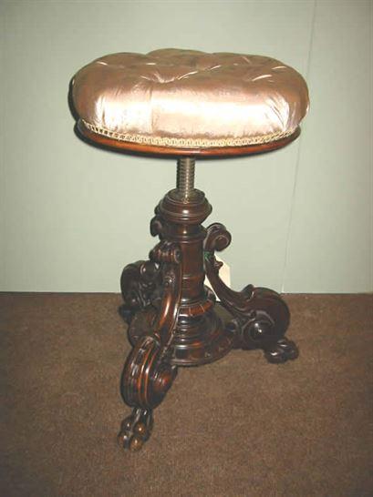 Victorian Walnut Piano Stool  Antique Piano Stool UK