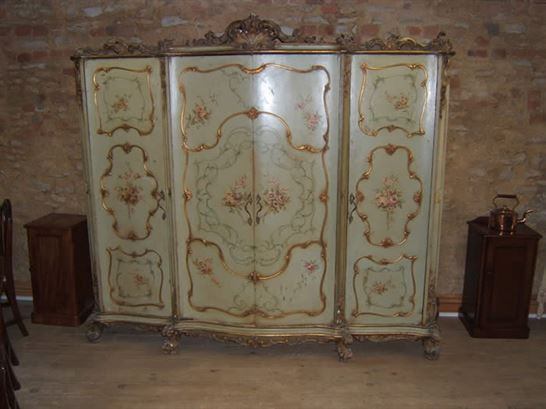 Italian Rococo Style Painted Wardrobe  Antique Wardrobe UK