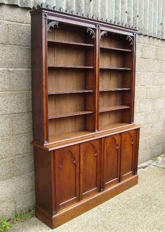 ANTIQUE FURNITURE WAREHOUSE  Antique Victorian Oak Library Bookcase  Early Victorian Oak
