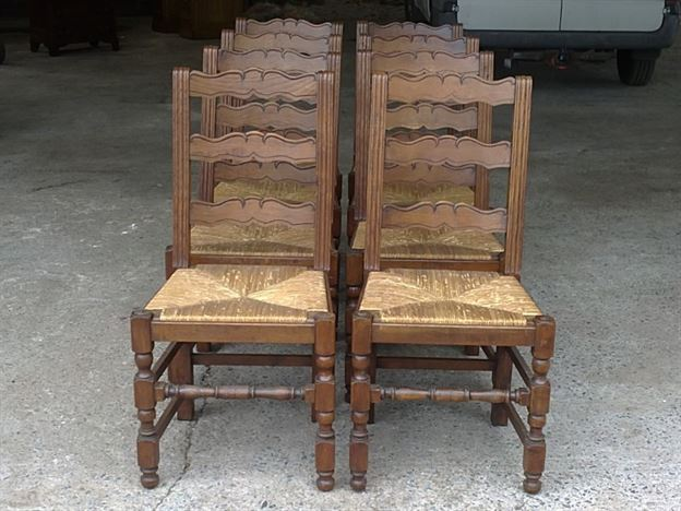 antique ladder back chairs uk sunbrella outdoor lounge chair cushions furniture warehouse - large set of eight 8 french provincial oak ...