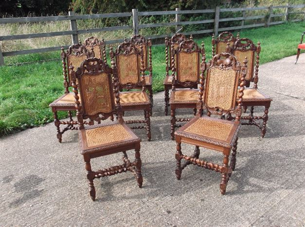 revolving dining chair jesus has a rocking antique furniture warehouse - set 10 oak and cane chairs ten jacobean carved framed high ...