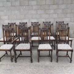Revolving Desk Chair Padding For Dining Room Chairs Antique Furniture Warehouse - Set 14 Oak Fourteen Jacobean Framed ...