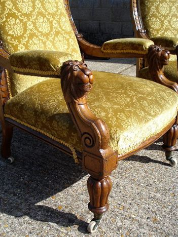 office chair without arms tub chairs antique furniture warehouse - stunning pair of early period mahogany library with lions ...