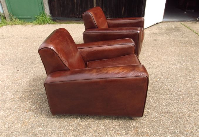 revolving chair used metal barstool chairs antique furniture warehouse - vintage leather pair of 1930s club armchairs