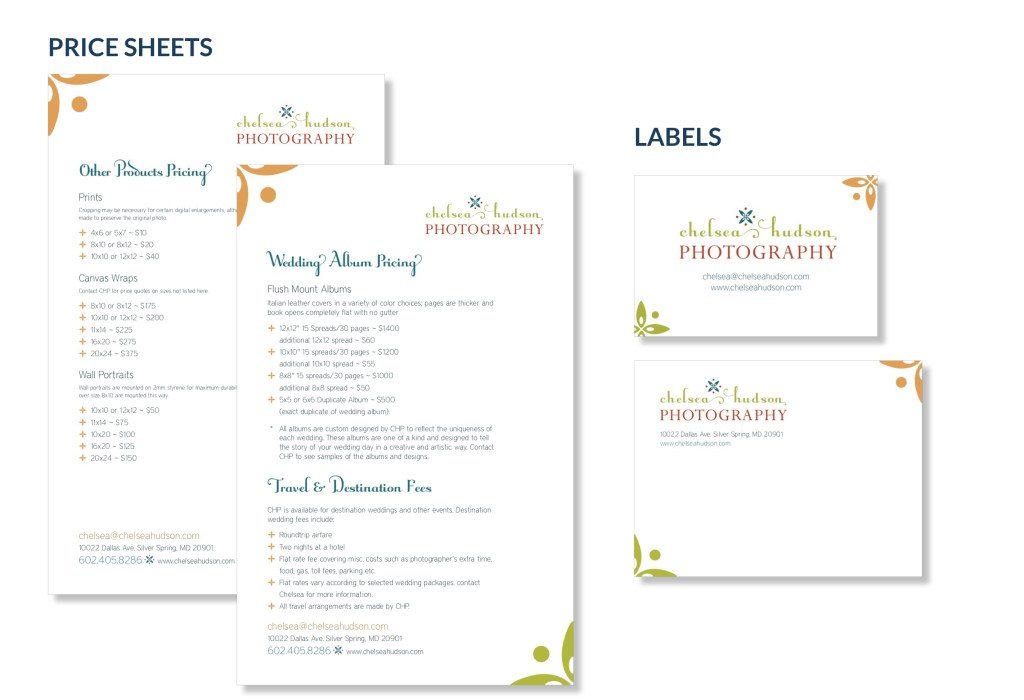Chelsea Hudson Photography pricesheets and labels