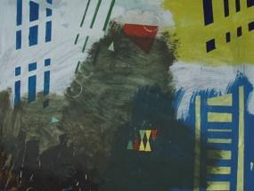 Landschaft - Rot, Grün, Gelb I, Öl auf Leinwand, 80 x 100 cm, 2008