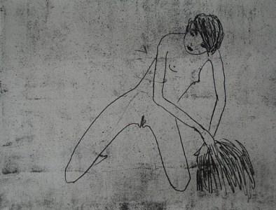 Ich reche das Heu mit meiner Hand, Vernis mou, 19 x 24 cm, 2006